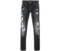 tiger embroidered jeans