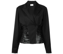 - leather insert blazer - women