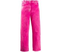 Cropped-Jeans mit Fransensaum