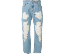 Cropped-Jeans mit Distressed-Optik - women