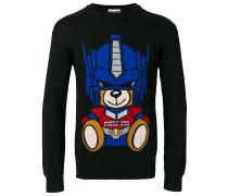 Intarsien-Pullover mit Bärenmotiv