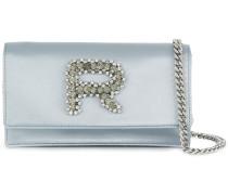 embellished logo clutch bag