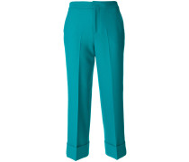 cropped turn-up cuff trousers