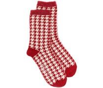 Intarsien-Socken mit Hahnentrittmuster