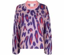 leopard-print knitted jumper