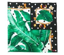 Gepunkteter Seidenschal mit Bananenblatt-Print