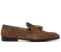 suede tassel-trim loafers
