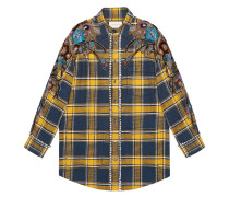 Embroidered plaid oversized shirt