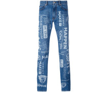 painted logo slim jeans