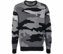 camouflage-print knitted jumper