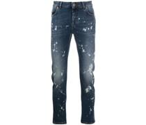 Gerade Jeans mit Farbklecks-Print