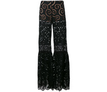 sheer flared trousers - women