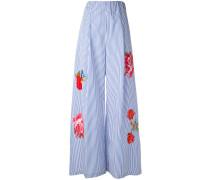 Ausgestellte Hose mit Blumen-Patches - women