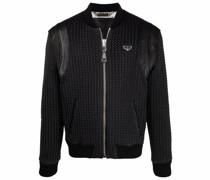 woven-leather bomber jacket