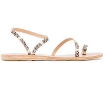 'Eleftheria' Sandalen mit Schlangenleder-Effekt