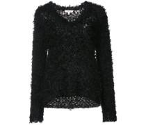 Flauschiger Pullover mit V-Ausschnitt
