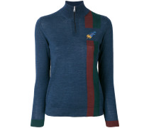 embroidered feather zip jumper