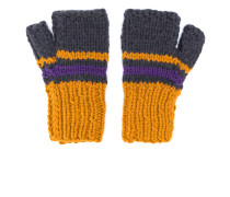 colour-block knitted gloves