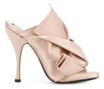 satin abstract bow mules