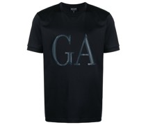 T-Shirt mit Logo aus Leder