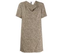 Drapiertes Kleid mit Fischgrätenmuster