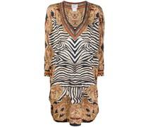Weites Kleid mit Zebra-Print