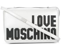 logo print metallic satchel