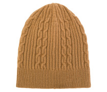rib and cable knit beanie hat
