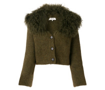 lamb fur trim cardigan