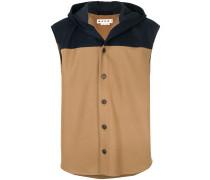 hooded colour block waistcoat