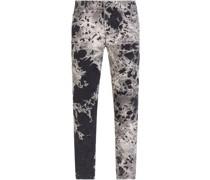 Skinny-Jeans mit Blatt-Print