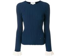 ribbed flared cuff sweater