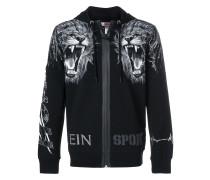 lion motif zip front hoodie
