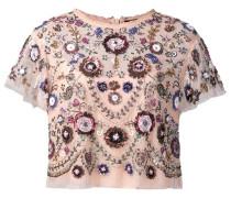 Cropped-Bluse mit Blumenstickereien
