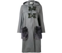fur-trimmed single breasted coat - women