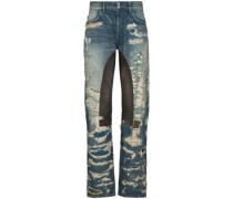 Distressed Moleskin straight-leg jeans