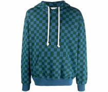 check-print drawstring hoodie