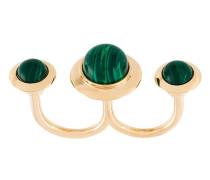 Vergoldeter 'Astro' Zwei-Finger-Ring mit Malachit