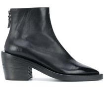 pointed toe block heel ankle boots