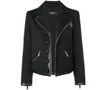 biker jacket with leather trim