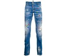 graffiti distressed jeans