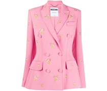 floral-embroidered double-breasted blazer