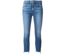 Cropped-Jeans mit Fransensaum