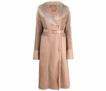 faux fur-trimmed long coat