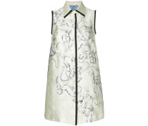 rabbit print sleeveless shirt dress