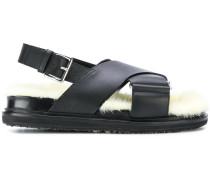 'Fussbett' Sandalen mit Nerzbesatz