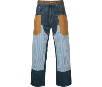 patchwork straight leg jeans