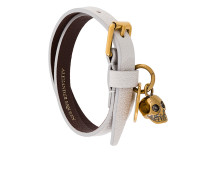 Doppeltes Armband mit Totenkopfapplikation