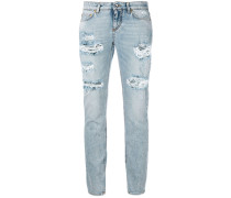 - Cropped-Jeans in Distressed-Optik - women