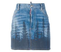 forest print mini denim skirt